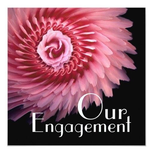 """Nuestro compromiso - guirnalda rosada del rosa invitación 5.25"""" x 5.25"""""""