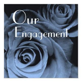 Nuestro compromiso - ramo color de rosa azul invitación 13,3 cm x 13,3cm