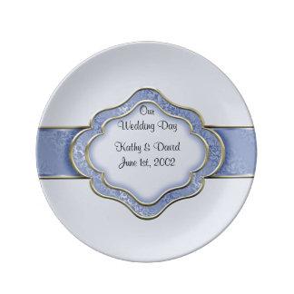 Nuestro día de boda (azul) platos de cerámica