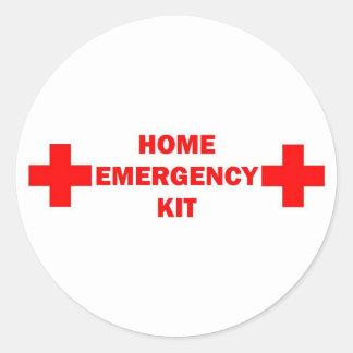 Nuestro equipo casero de la emergencia etiqueta redonda