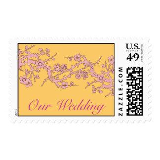 Nuestro franqueo de la cereza del banquete de boda estampillas