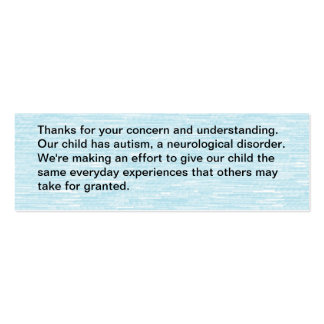 Nuestro niño tiene autismo - tarjeta tarjetas de visita mini