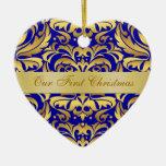 Nuestro ornamento azul del damasco del oro del ornamento para reyes magos