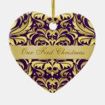 Nuestro ornamento púrpura del damasco del oro del  ornamentos de reyes magos