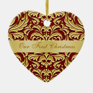 Nuestro ornamento rojo del damasco del oro del adorno navideño de cerámica en forma de corazón