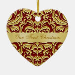 Nuestro ornamento rojo del damasco del oro del ornato