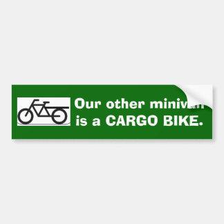 Nuestro otro minivan es una BICI del CARGO Etiqueta De Parachoque