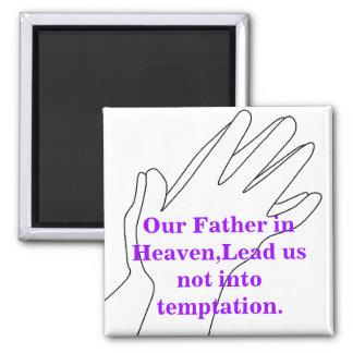 Nuestro padre en cielo imán cuadrado