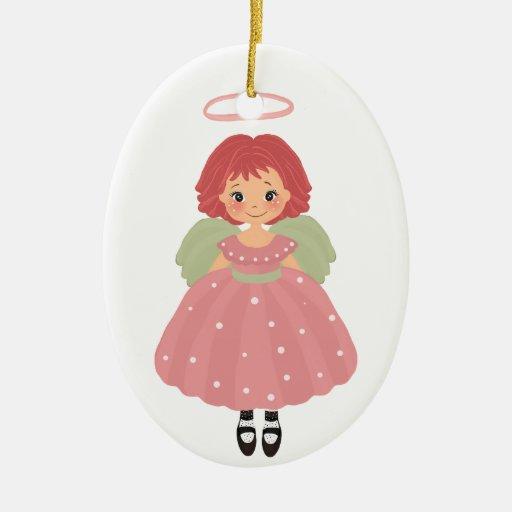 Nuestro pequeño ángel adorno navideño ovalado de cerámica