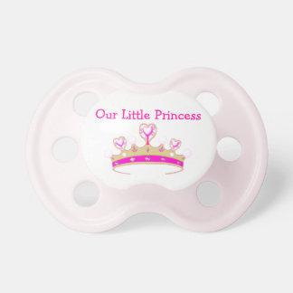 Nuestro pequeño nombre de princesa Tiara Crown Gir Chupetes