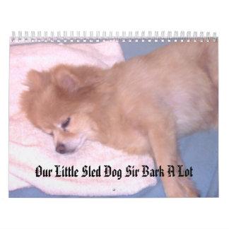 Nuestro pequeño sir Bark del perro de trineo mucho Calendario De Pared