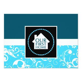 """nuestro primer casero (damasco azul) invitación 5.5"""" x 7.5"""""""