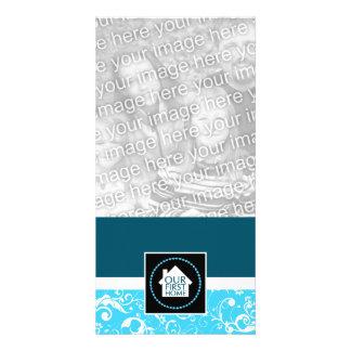 nuestro primer casero (damasco azul) plantilla para tarjeta de foto
