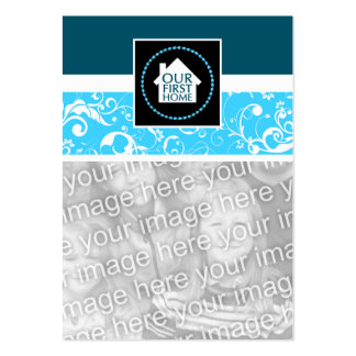 nuestro primer casero (damasco azul) tarjetas de visita grandes
