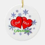 Nuestro primer navidad adorno navideño redondo de cerámica