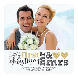 """Nuestro primer navidad como Sr. y señora Gold Invitación 5.25"""" X 5.25"""""""