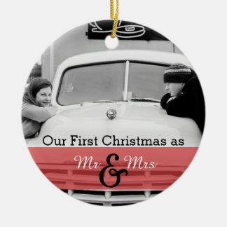 Nuestro primer navidad como Sr. y señora Holiday Ornamentos De Navidad