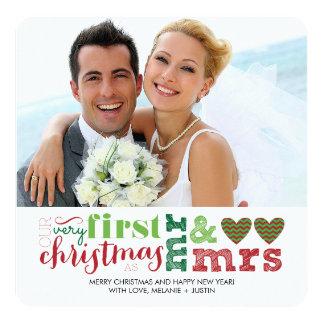 """Nuestro primer navidad como Sr. y señora Holiday Invitación 5.25"""" X 5.25"""""""