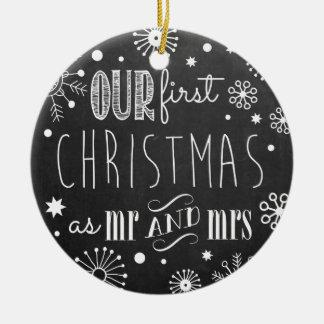 Nuestro primer navidad como Sr. y señora Ornament Adorno Navideño Redondo De Cerámica