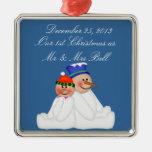 Nuestro primer navidad como Sr. y señora Ornament Adorno Cuadrado Plateado