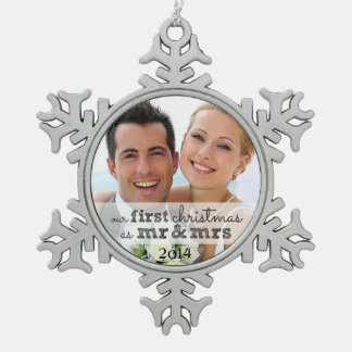 Nuestro primer navidad como Sr. y señora Snowflake Adorno De Peltre En Forma De Copo De Nieve