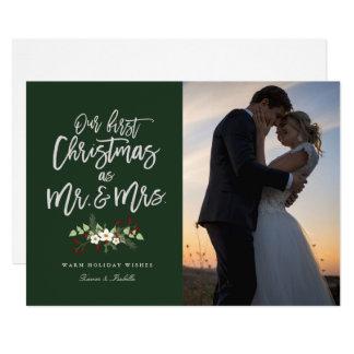 """Nuestro primer navidad en tarjeta verde de la foto invitación 5"""" x 7"""""""