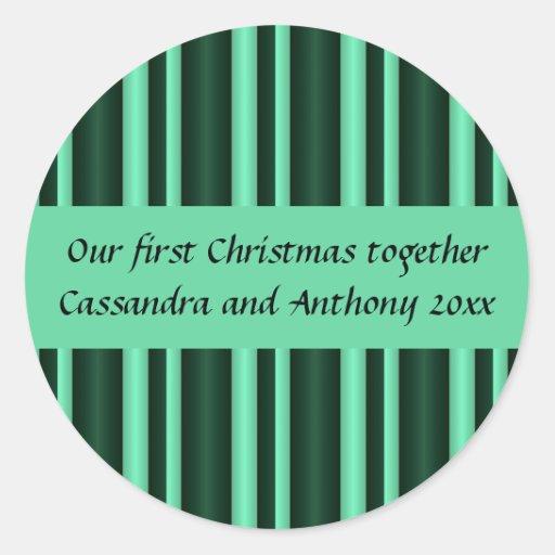 Nuestro primer navidad juntas acuña rayas pegatinas redondas