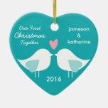 Nuestro primer navidad junto ama el ornamento de adornos de navidad