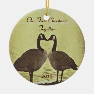 Nuestro primer navidad junto ornamentos de navidad