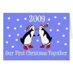 Nuestro primer navidad juntos 2009 (pingüinos) tarjeta