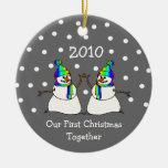 Nuestro primer navidad juntos 2010 (muñecos de adorno navideño redondo de cerámica