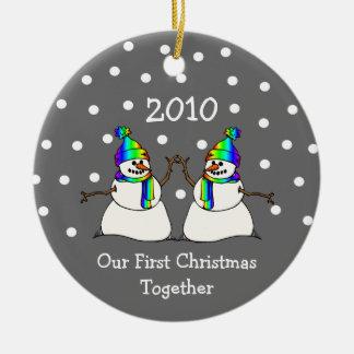 Nuestro primer navidad juntos 2010 (muñecos de adorno redondo de cerámica