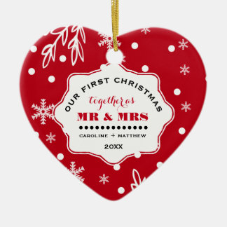 Nuestro primer navidad. Ornamentos de encargo de Adorno Navideño De Cerámica En Forma De Corazón