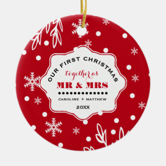 Nuestro primer navidad. Ornamentos de encargo de Adorno Navideño Redondo De Cerámica