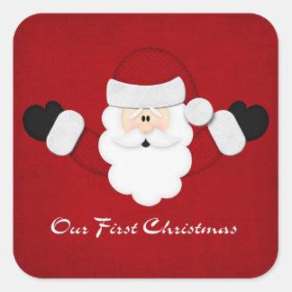 Nuestro primer navidad pegatina cuadrada