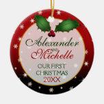 Nuestro primer navidad que casa el ornamento adorno redondo de cerámica