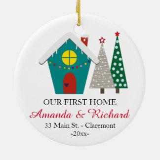 Nuestro primer ornamento casero del navidad - casa adorno navideño redondo de cerámica