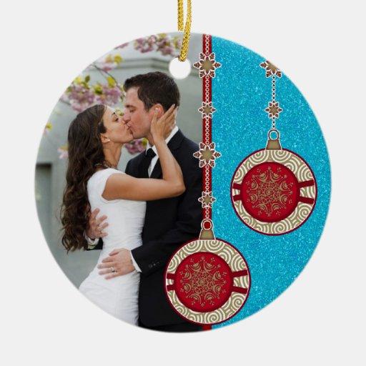 Nuestro primer ornamento del navidad de la foto de adorno navideño redondo de cerámica