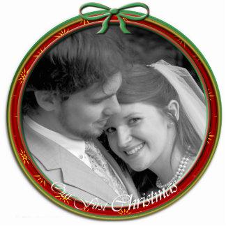 Nuestro primer ornamento del navidad adorno fotoescultura