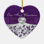 Nuestro primer ornamento del recuerdo del navidad adorno navideño de cerámica en forma de corazón