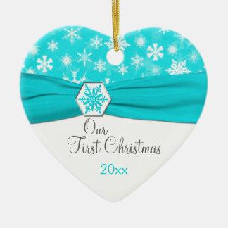 Nuestro primer ornamento del recuerdo del navidad adorno de cerámica en forma de corazón