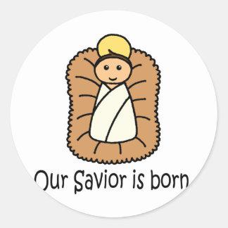 Nuestro salvador nace pegatina redonda