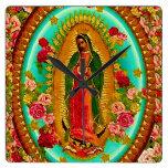 Nuestro Virgen María mexicano del santo de señora Reloj Cuadrado
