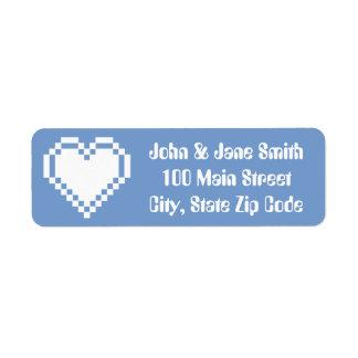 Nuestros corazones de 8 bits en etiqueta de etiqueta de remite