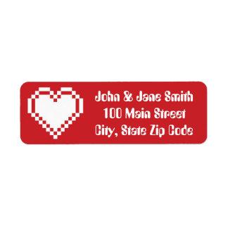 Nuestros corazones de 8 bits en etiqueta del etiqueta de remite