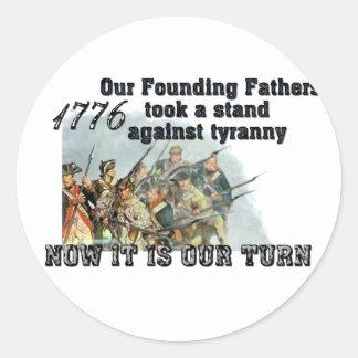 Nuestros fundadores contra tiranía etiquetas redondas