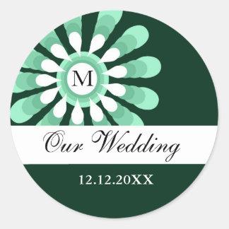 Nuestros pegatinas del monograma del boda (10) pegatina redonda