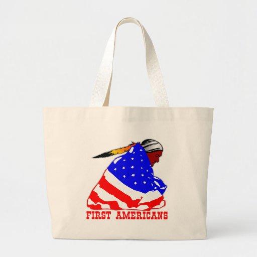 Nuestros primeros americanos bolsa lienzo