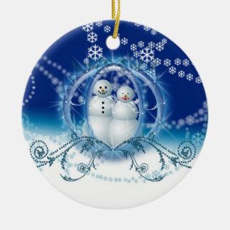 Nuestros primeros ornamentos del muñeco de nieve adorno redondo de cerámica