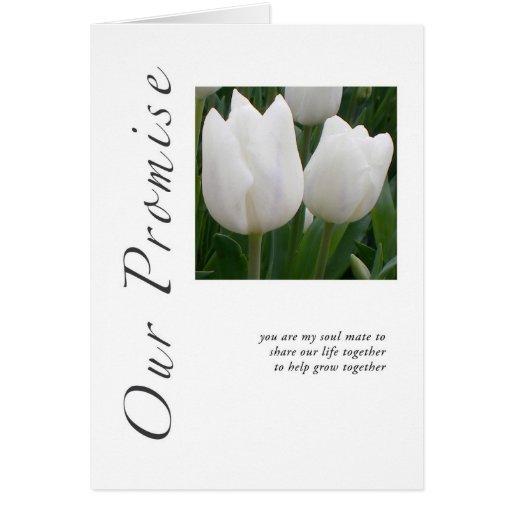 Nuestros tulipanes de la promesa tarjeta de felicitación